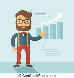 Business presentation. - The man with a beard presenting his...