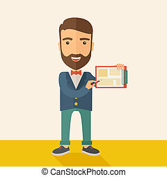 Handsome man with clipboard - A handsome hipster caucasian...