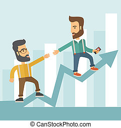 Business man and positive graph
