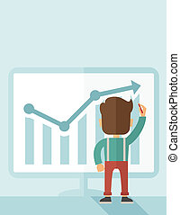 Successful businessman with a chart going up - A Caucasian...