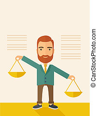Balancing priorities - A hipster Caucasian businessman with...