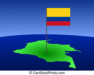 map of Columbia with flag - map of Columbia and their flag...