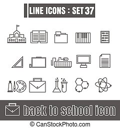 icons set back to school line black Modern Style design elements Geometry Straight lines curves vector on white background