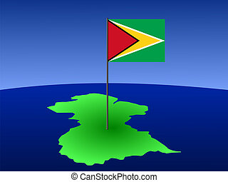 map of Guyana with flag - map of Guyana and their flag on...