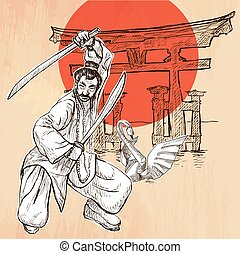 Japan An Warrior, Shinto, Swan An hand drawn vector picture...