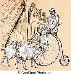 Velocipede - bicyclist. An hand drawn vector picture. Line...
