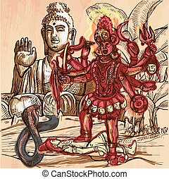 Kali. God. An hand drawn vector picture. Line art...