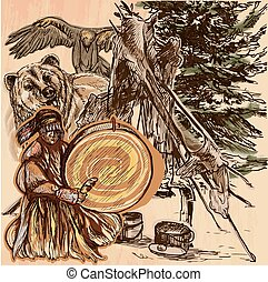 Shaman, bear and eagle. An hand drawn vector picture. Line...