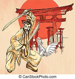 Japan. An Warrior, Shinto, Swan. An hand drawn vector...
