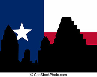 Austin Skyline with flag - Austin Skyline with Texan flag...