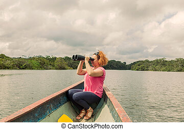 Blonde Woman With High Power Binocular - Happy Blonde Woman...