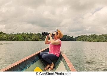 Blonde Woman With High Power Binocular - Happy Blonde Woman...
