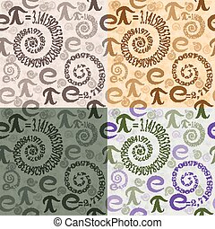 Seamless pattern of letters e and Pi in the form spirals -...