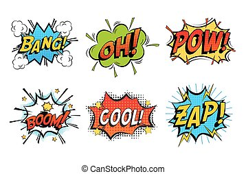 Emotions for comics speech like bang and cool