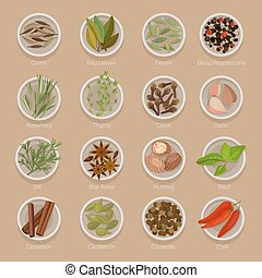 Spice or seasoning on plates like seeds and roots - Spice or...
