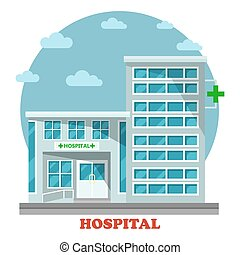 Hospital or clinic, hospice building with cross - Hospital...