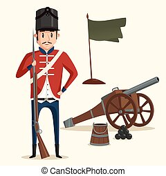 French army soldier with musket near cannon