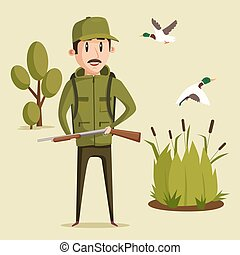 Hunting sport illustration. Hunter with rifle and flying...