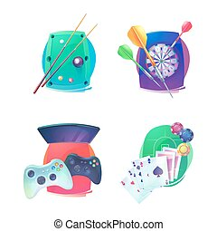 Billiard and darts, video game, poker emblem - Billiard and...