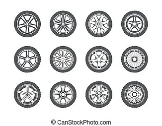 Wheel, tyre and tire collection of icons. Collection of...