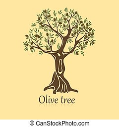 Logo of olive tree with berries on branches