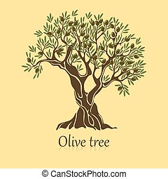 Olive tree with branches and berries logotype
