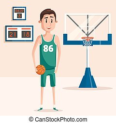 Basketball player in uniform holding ball near backboard with hoop and net. Scoreboard showing time. Perfect for university or college, professional sport games illustration or championship banner