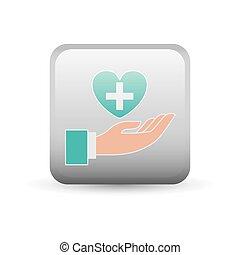 Cross and heart inside frame design