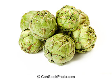 Isolated Baby Artichokes on white