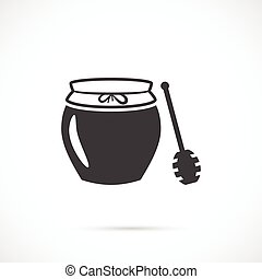 Jar of honey with wooden stick icon