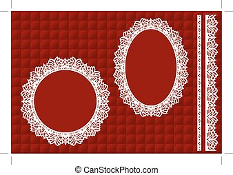 Lace Doily Frames,  Red Quilt