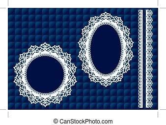 Lace Doily Frames, Blue Quilt - Vintage Lace Doily Picture...