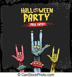 Halloween vector rock n roll zombie background - Halloween...