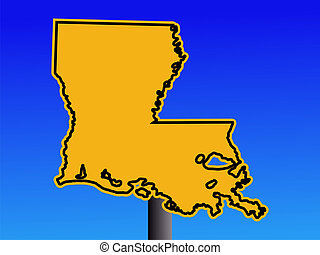 warning Louisiana sign - Warning sign in shape of Louisiana...