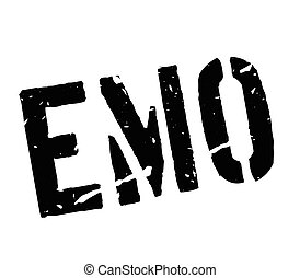 Emo rubber stamp on white. Print, impress, overprint. Sign...