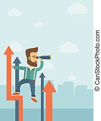 Successful businessman - A businessman with beard stand on...