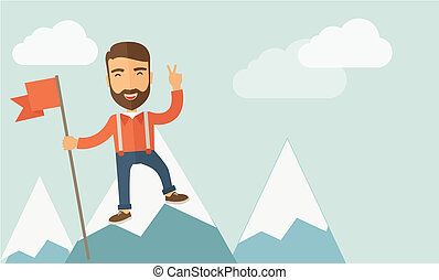 Cheerful leader - A happy Caucasian businessman standing on...