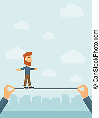 Businessman walking on wire. - A Caucasian businessman...