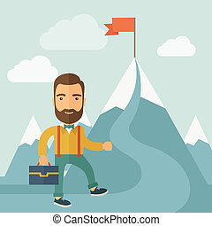 The Man Climbing the Mountain of Success - The man with a...