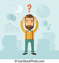 Confused Man. - The man with a beard with lots of plans is...