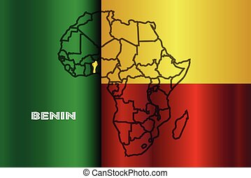 Benin Isolated On Map - Benin outline inset into a map of...