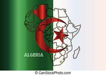 Algeria Isolated On Map - Algeria outline inset into a map...