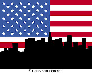 Los Angeles skyline with flag - Los Angeles skyline viewed...