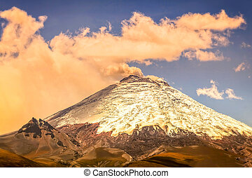 Scene Of Powerful Active Cotopaxi Volcano Erupting In...