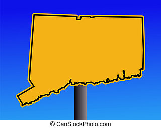 Connecticut warning sign - Warning sign in shape of...