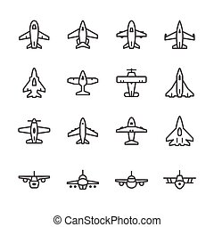 Set line icons of plane isolated on white Vector...