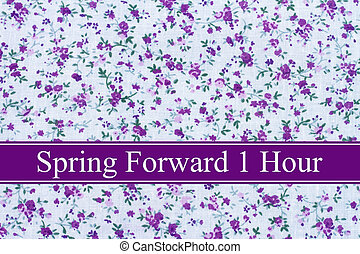 Spring Time Change, Purple flowers fabric and text Spring...