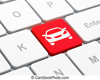 Travel concept: Car on computer keyboard background - Travel...