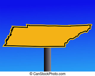 Tennessee warning sign - warning sign in shape of Tennessee...