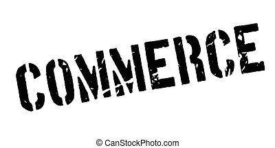 Commerce rubber stamp on white. Print, impress, overprint.